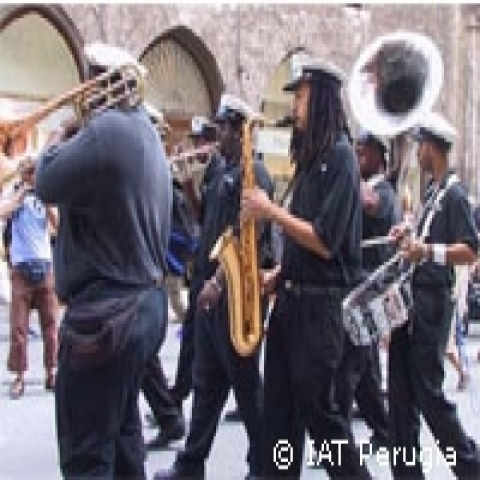 Marching band during Umbria Jazz in Perugia Italy