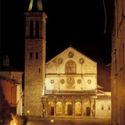 The Cathedral by night in Spoleto Italy