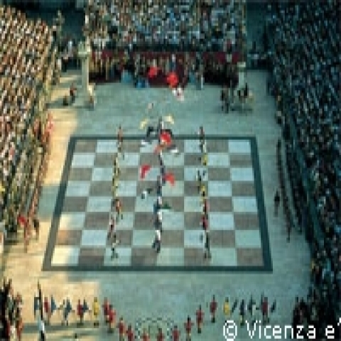 Live chess game in Marostica Veneto Italy