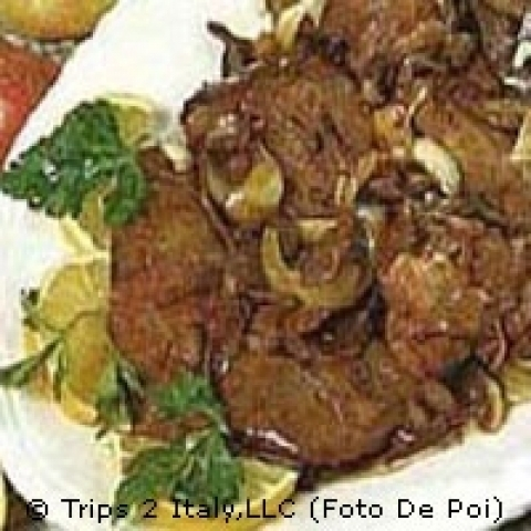 Traditional liver with onions in Veneto Italy