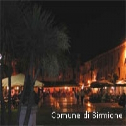 Sirmione square by night in Garda Lake Italy