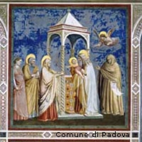 Detail on the frescoes of the Scrovegni Chapel in Padua Italy