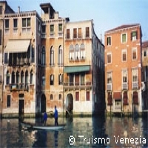 Typical colorful houses in Venice Italy