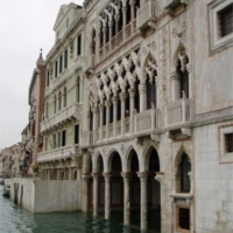 Historical building facing the canal Venice Italy