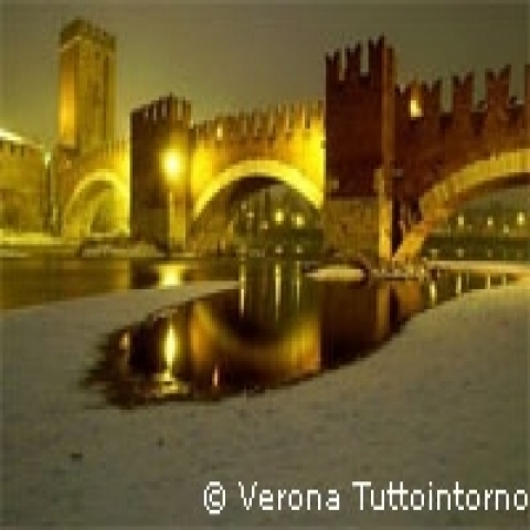 Scaligero Bridge in winter Verona Italy