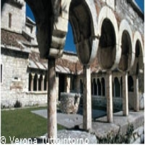 Ancient cloister in San Giorgio Church in Verona surrounding area Italy