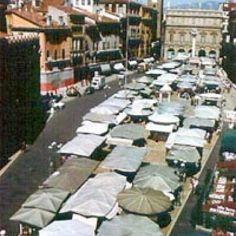Weekly market in Verona Italy