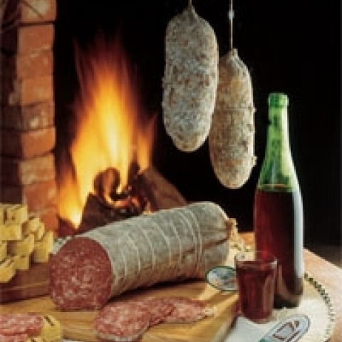 Typical wine and salami from Vicenza Italy