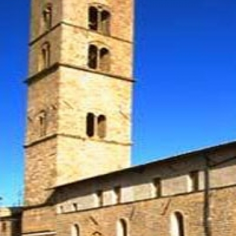 The Cathedral bell tower in Volterra Italy