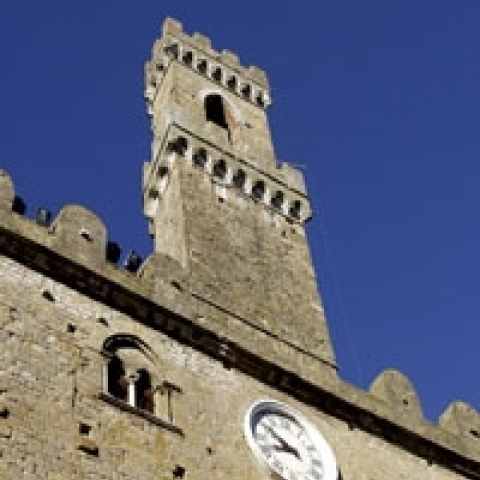 The tower of Volterra town hall Italy