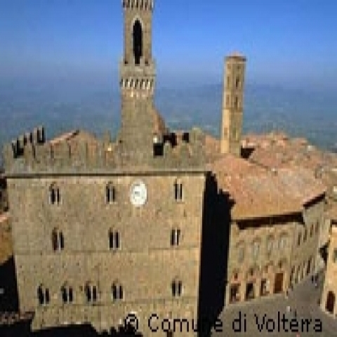 An aerial view of Volterra Italy