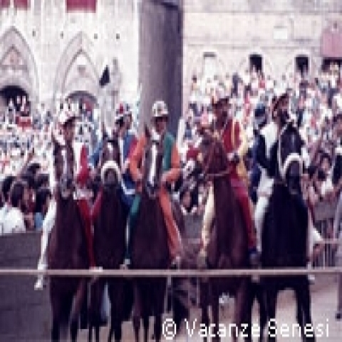 The starting grid of the Palio in Siena Italy