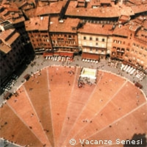 The famous Piazza del Campo in Siena Italy