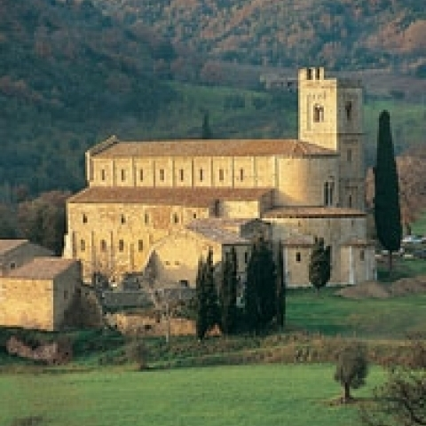 Sant'Antimo abbey in Siena countryside Italy