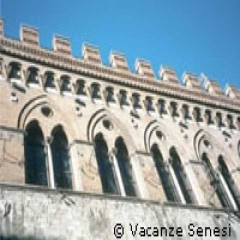 Gothic style windows in Siena Italy