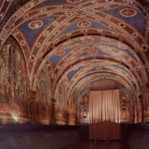 A frescoed room in Siena Town hall Italy