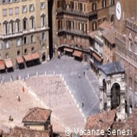 An aerial view of Piazza del Campo in Siena Italy
