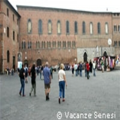 Strolling in Siena city center Italy