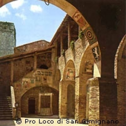 The Courtyard of San Gimignano town hall Italy