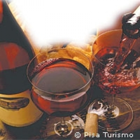 Red wine from Pisa county Italy
