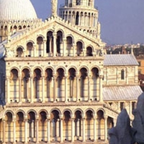A detail of Pisa Cathedral facade Italy