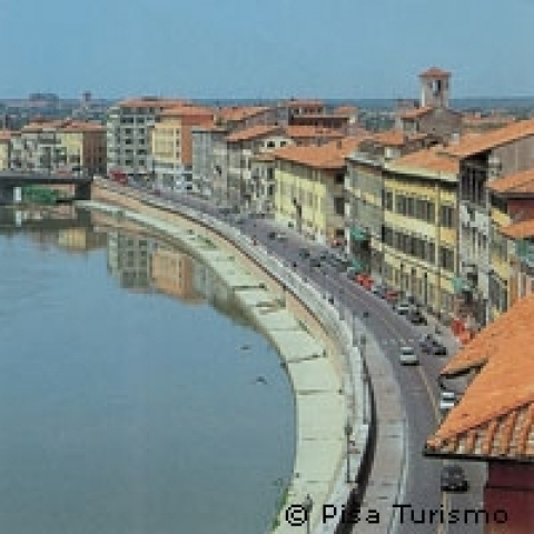 A view of Arno waterfront in Pisa Italy