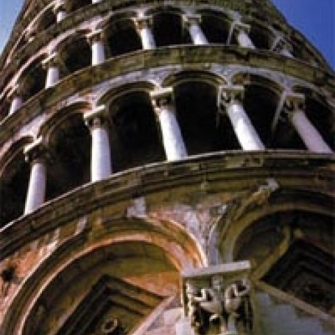 A detail of the leaning tower of Pisa Italy