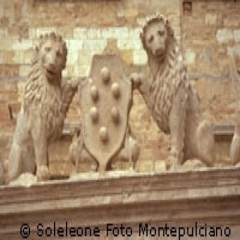 The Lions and Griffins well in Montepulciano Italy