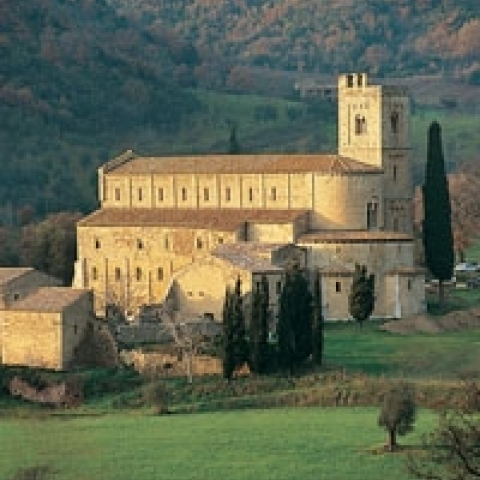 The Saint Antimo Abbey near Montalcino Italy