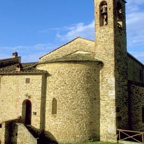 Detail of a Romanesque church near Arezzo Italy