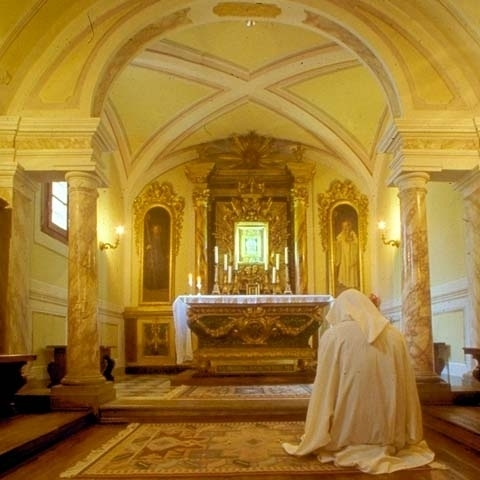 Interior of Camaldoli church in Casentino Arezzo Italy