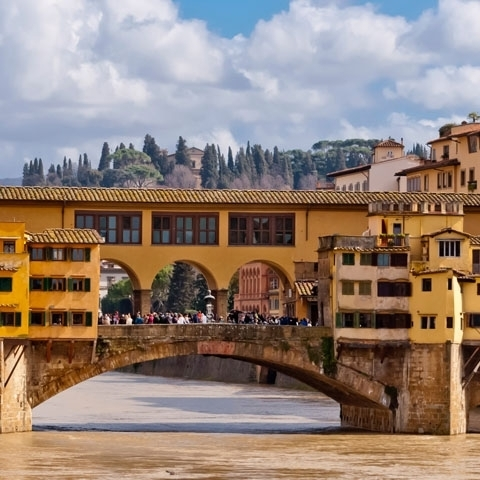 Florence Old Bridge view on Arno River