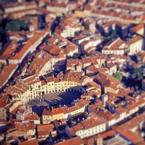 Areal View of Lucca Roman Amphitheater Square