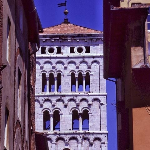 San Michele Church bell tower in Lucca Italy
