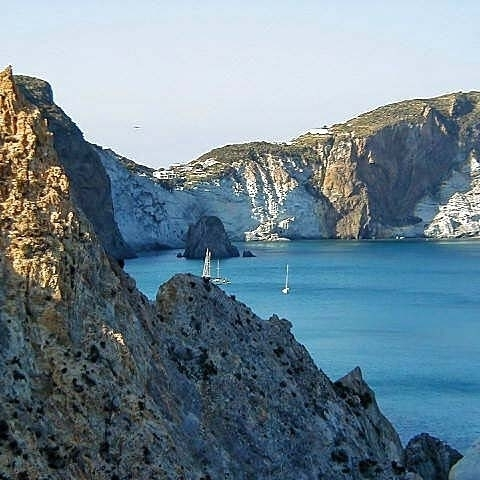Rocky cliffs in Pontine Isles Italy