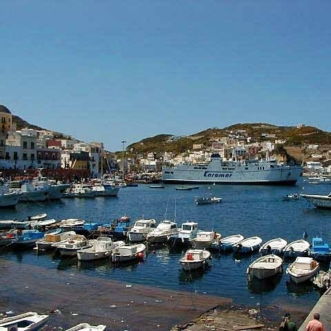 Ferry in Ponza harbor Pontine Isles Italy