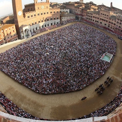 Piazza del Campo in Siena Tuscany during Palio