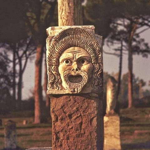 Theater Mask Ancient Ostia Rome Italy