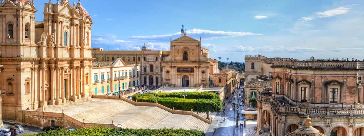 Noto Sicily Church and Street View