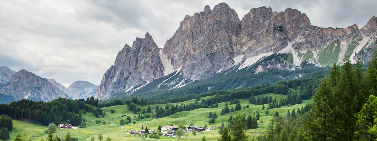Dolomites Cristallo Chain Mountains View