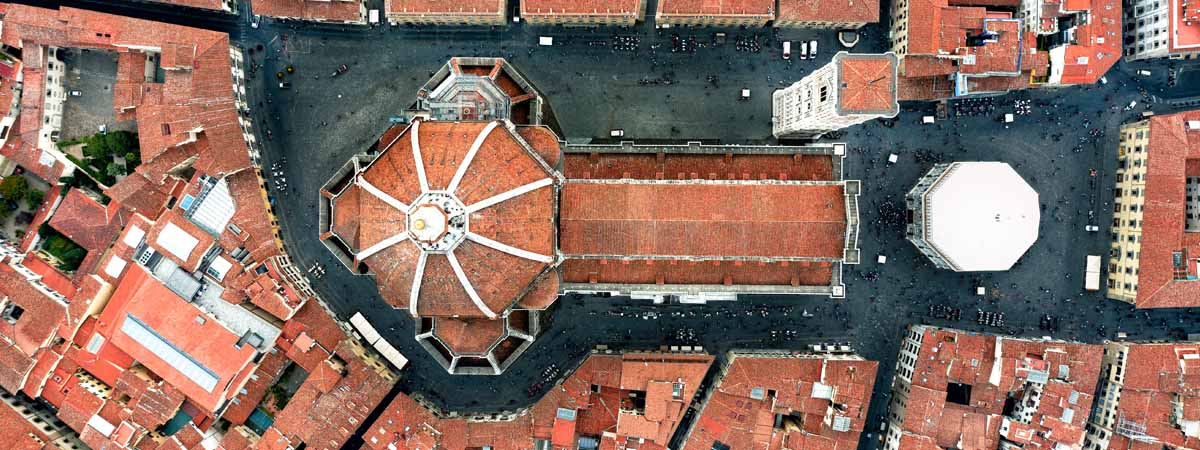 Florence Tuscany Areal View Duomo Cathedral