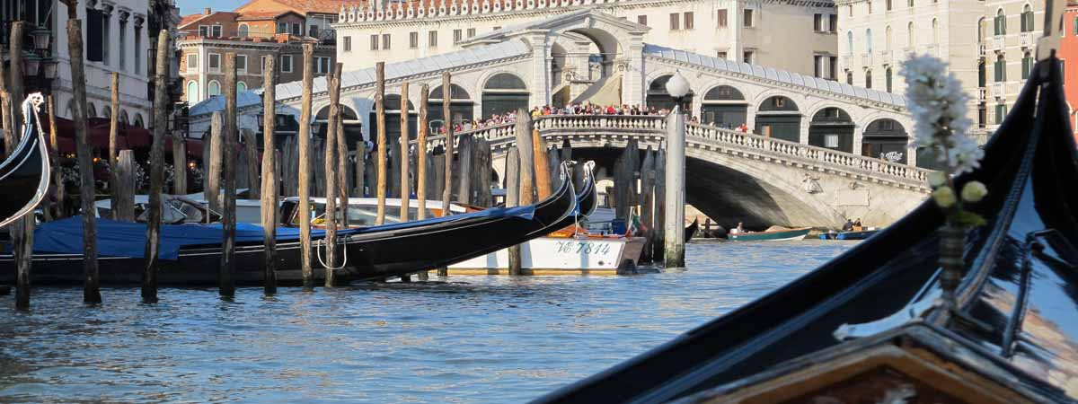 Venice Rialto Bridge view Gondola