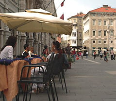 Trieste historical coffee table in the square